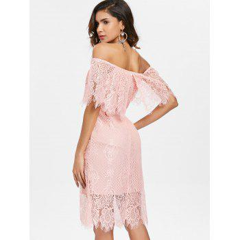 Off Shoulder Ruffled Lace Bodycon Dress - LIGHT PINK XL