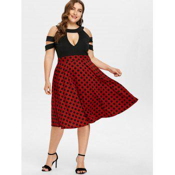 Plus Size Cutout Polka Dot Tea Length Dress - RED L