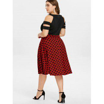 Plus Size Cutout Polka Dot Tea Length Dress - RED 2X