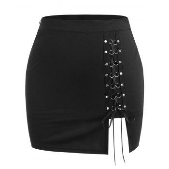 Plus Size Lace Up High Waisted Skirt - BLACK L
