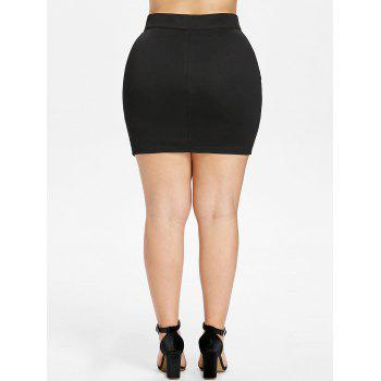 Plus Size Lace Up High Waisted Skirt - BLACK 1X