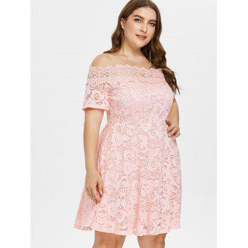 Plus Size Lace Fit and Flare Dress - LIGHT PINK 2X
