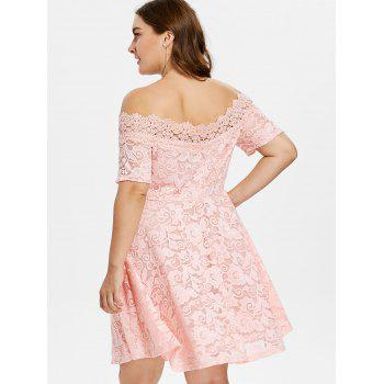 Plus Size Lace Fit and Flare Dress - LIGHT PINK 5X