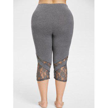 Lace Hem Plus Size Capri Skinny Pants - SMOKEY GRAY 2XL