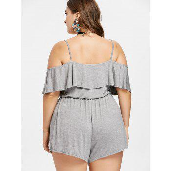 Plus Size Flounce Open Shoulder Romper - LIGHT GRAY 1X