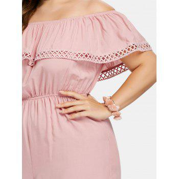 Plus Size Off The Shoulder Romper - PINK BUBBLEGUM 2X