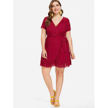 Plus Size Wrap Ruffled Dress - FIRE ENGINE RED L