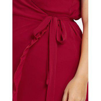 Plus Size Wrap Ruffled Dress - FIRE ENGINE RED 4X