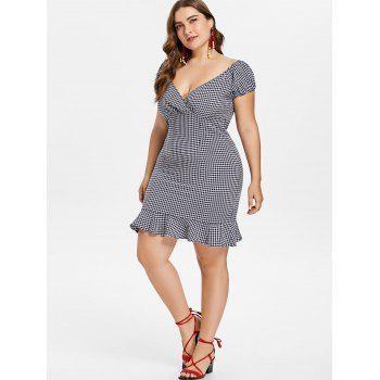 Plus Size Gingham Plunge Dress - DEEP BLUE 2X