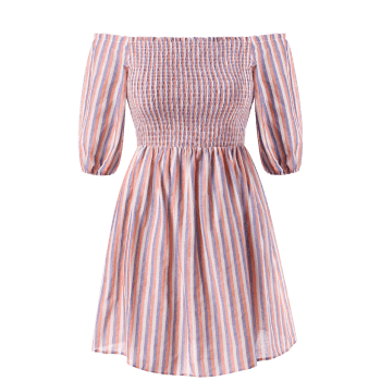Plus Size Smocked Striped Dress - multicolor 2X