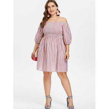 Plus Size Smocked Striped Dress - multicolor 3X