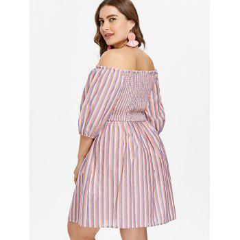 Plus Size Smocked Striped Dress - multicolor 4X