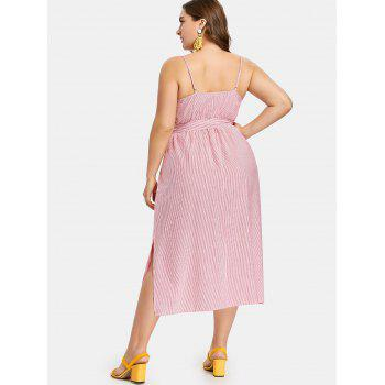 Plus Size Pinstriped Belted Slip Dress - RUBY RED L