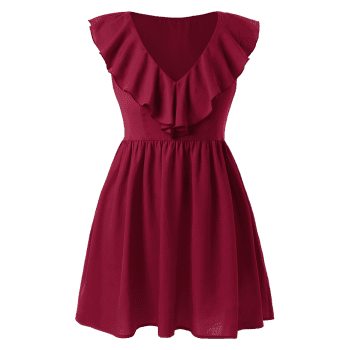 Plus Size Ruffled A Line Dress - RED WINE 1X
