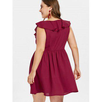 Plus Size Ruffled A Line Dress - RED WINE 3X