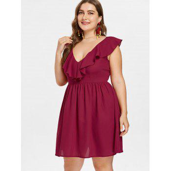 Plus Size Ruffled A Line Dress - RED WINE 4X