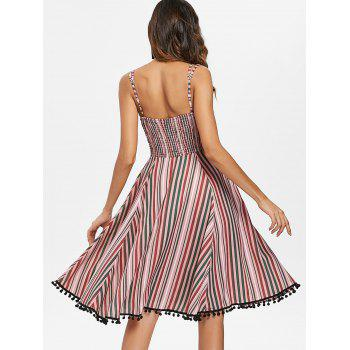 Striped Ruffle Vintage A Line Dress with Pompom - multicolor 2XL
