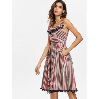 Striped Ruffle Vintage A Line Dress with Pompom - multicolor S