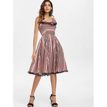 Striped Ruffle Vintage A Line Dress with Pompom - multicolor L