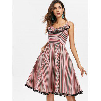 Striped Ruffle Vintage A Line Dress with Pompom - multicolor M