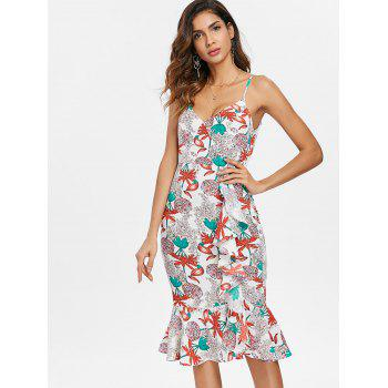 Floral Ruffled Bodycon Dress - multicolor S