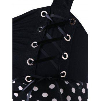 Plus Size Lace Up Shirred Tank Top - BLACK 2X