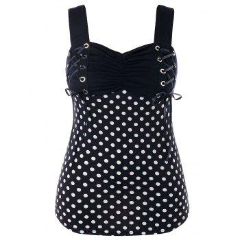Plus Size Lace Up Shirred Tank Top - BLACK L