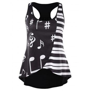 Plus Size Music Note Racerback Tank Top - BLACK 3X
