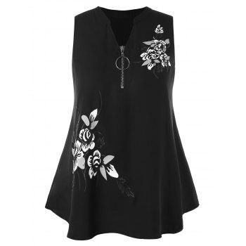 Plus Size Zip Neckline Floral Blouse - BLACK 2X