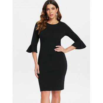 Flare Sleeve Knee Length Work Dress - BLACK XL