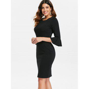 Flare Sleeve Knee Length Work Dress - BLACK 2XL