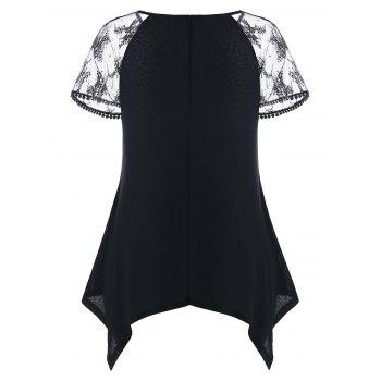 Plus Size Geometric Print Lace Panel T-shirt - BLACK 1X