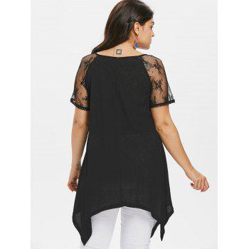 Plus Size Geometric Print Lace Panel T-shirt - BLACK 5X