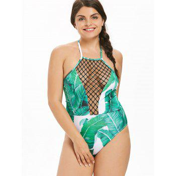 Plus Size Fishnet Trim Tropical One Piece Swimwear - GREEN L