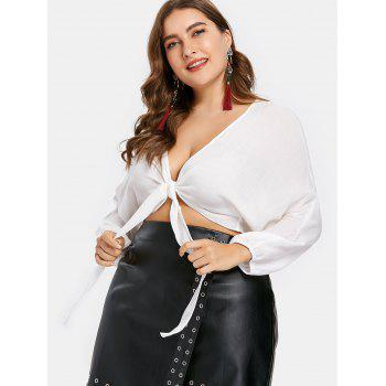 Plus Size Knot Front Plunge Top - WHITE 4X