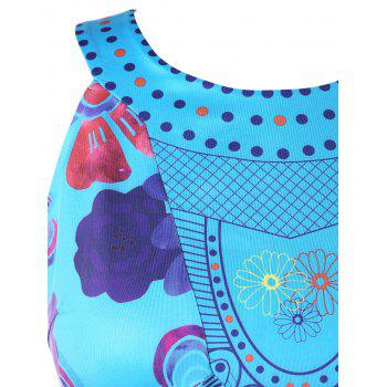 Plus Size Graphic Handkerchief Hem Tank Top - DEEP SKY BLUE 3X