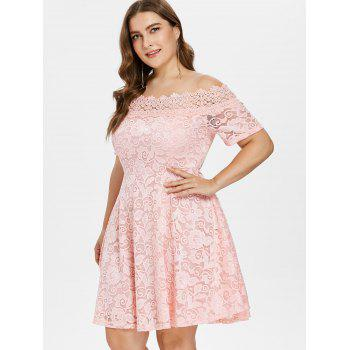 Plus Size Lace Fit and Flare Dress - LIGHT PINK L