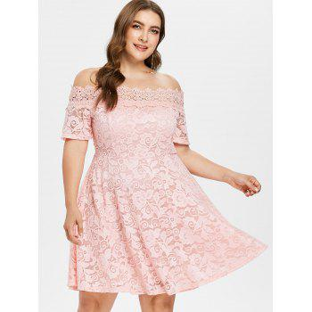 Plus Size Lace Fit and Flare Dress - LIGHT PINK 4X
