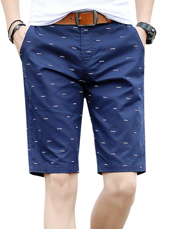 Fishbone Print Zipper Fly Casual Shorts - DEEP BLUE XL