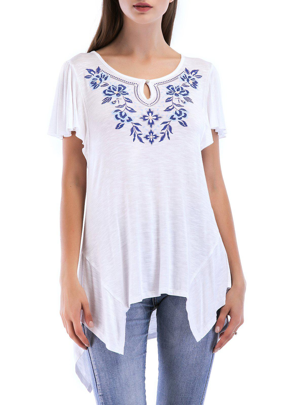 Pleated Short Sleeve Asymmetrical Top - WHITE M
