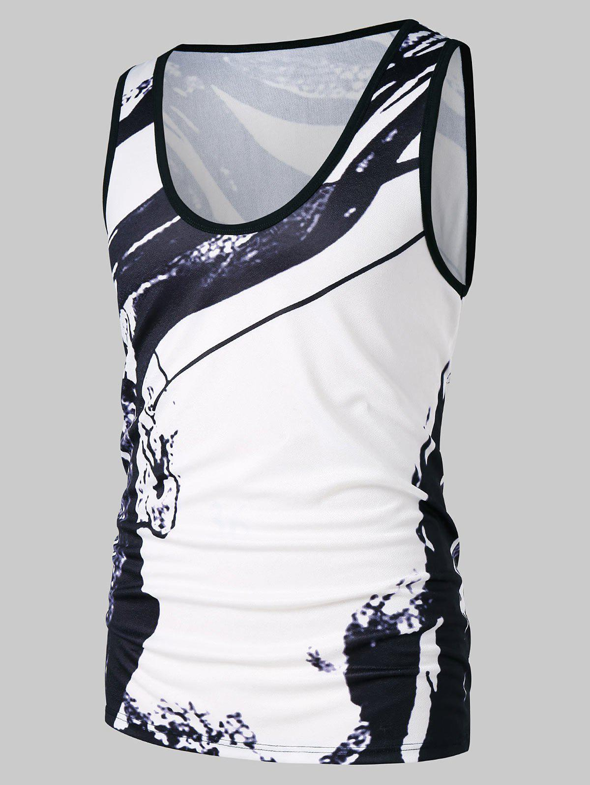 Round Neck Ink Print Tank Top - WHITE XL