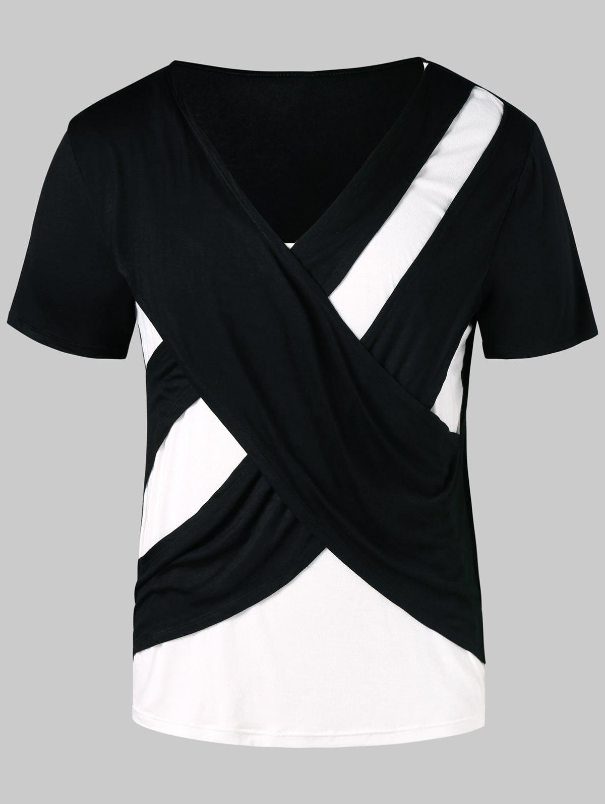 Contrast Color Cross Short Sleeve T-shirt - BLACK XL