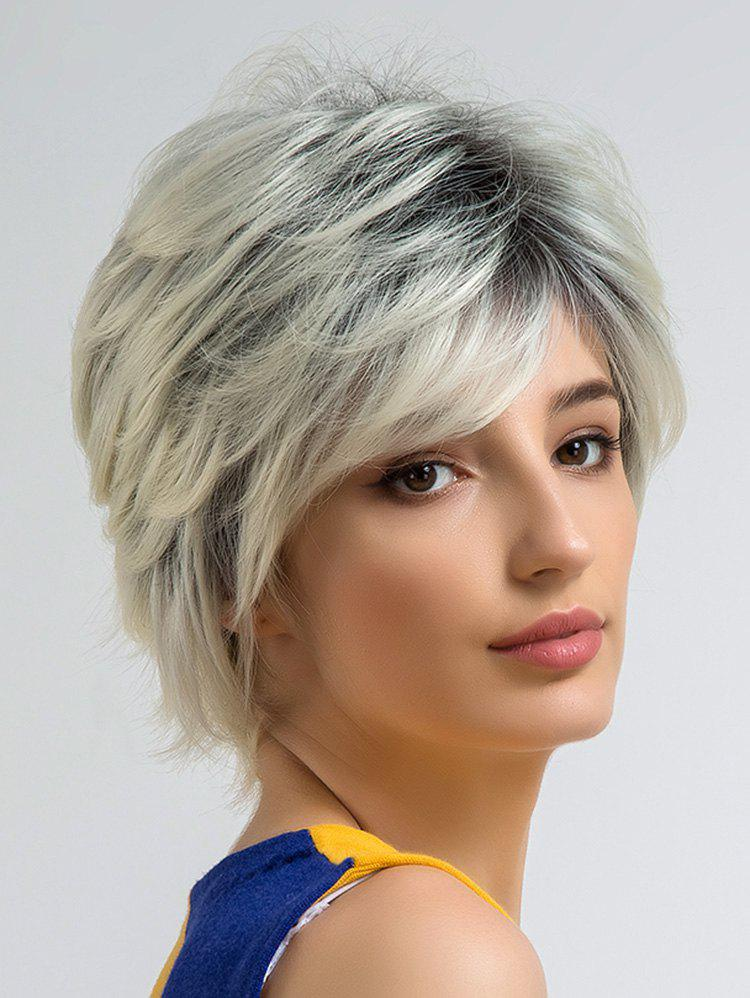 Short Side Bang Straight Colormix Cosplay Synthetic Wig - multicolor