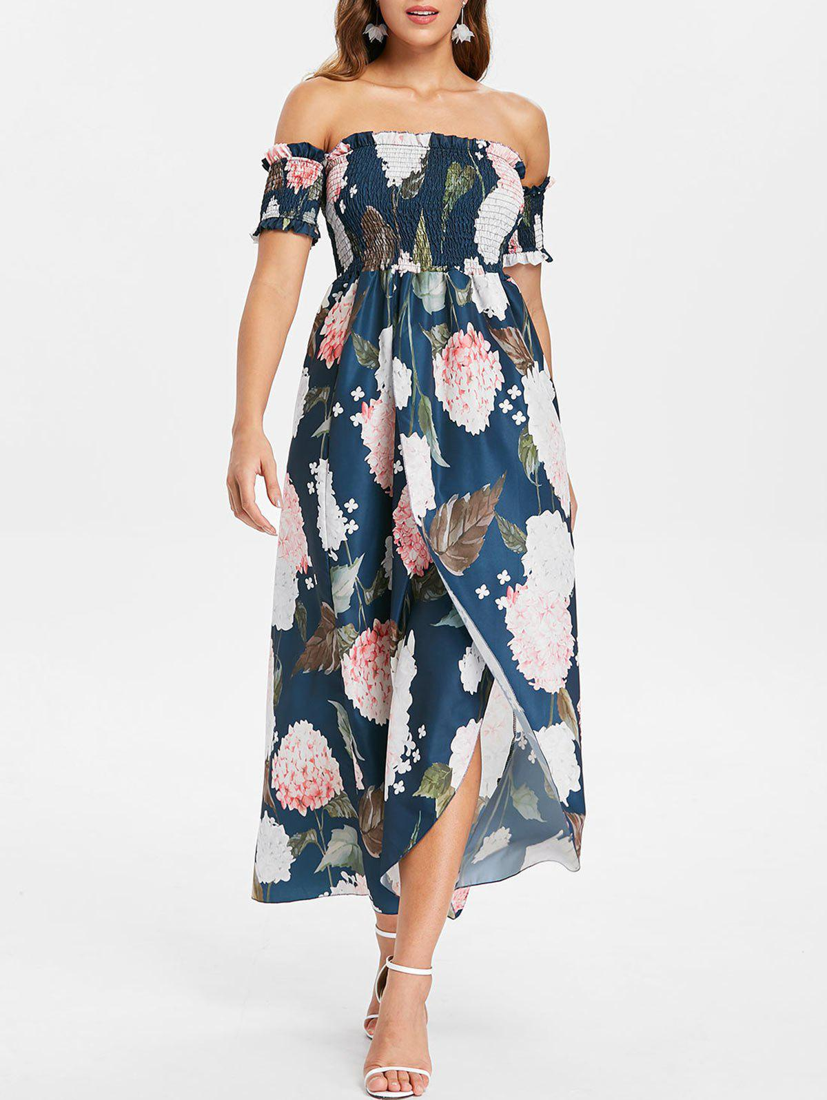 Floral Print Off The Shoulder Maxi Dress - NAVY BLUE M