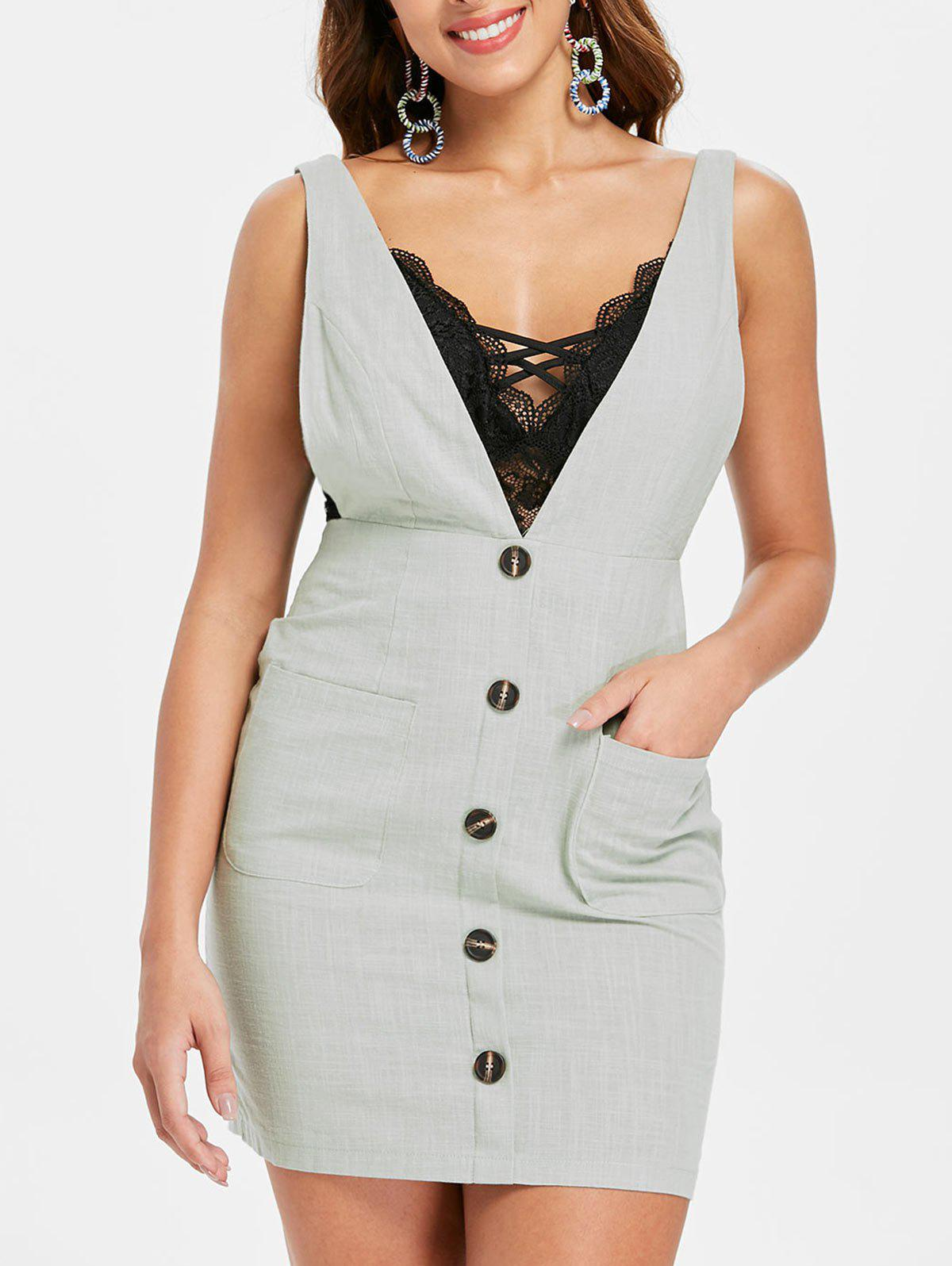 Front Pockets Plunging Neck Mini Dress - LIGHT GRAY L