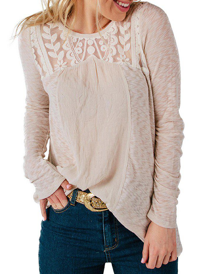 Casual Lace Patchwork Long Sleeve Blouse - WARM WHITE S