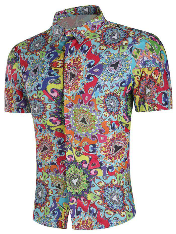 Colorful Filigree Paint Short Sleeve Shirt - multicolor 2XL