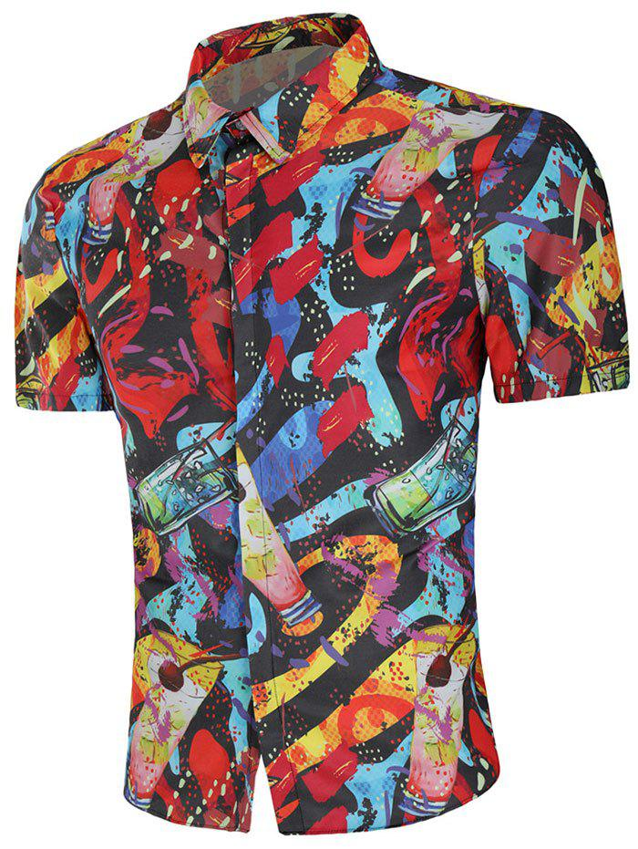 Short Sleeve Drinks Paint Shirt - multicolor M