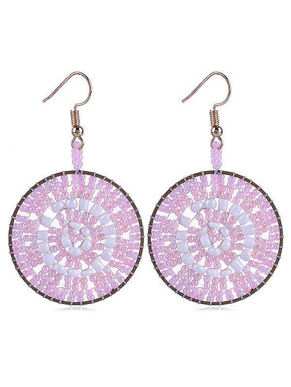 Round Design Beads Decoration Hook Earrings - COTTON CANDY