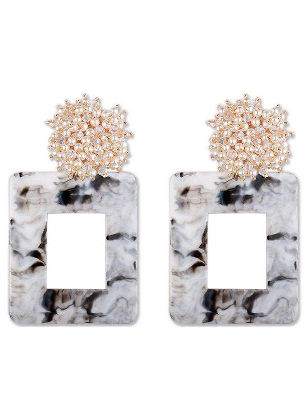 Geometric Square Shaped Artificial Pearl Earrings - GRAY